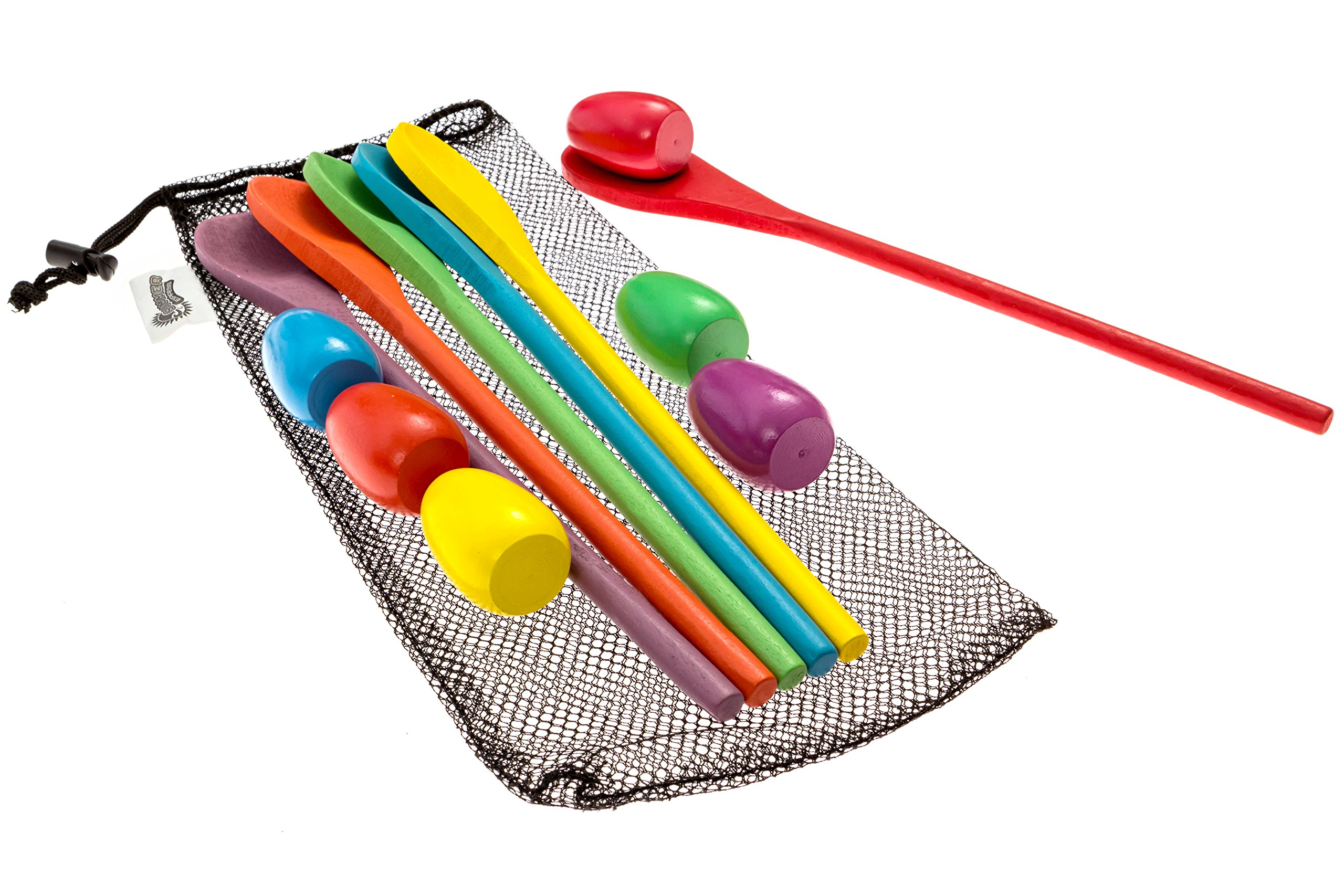 Summer Express Egg and Spoon Relay Race Game - Fun game for Kids Parties, Birthdays, Family Outings - Includes 6 Eggs, 6 Spoons, and Storage Bag - Six Assorted Colors - Egg n Spoon by Summer Express (Image #3)