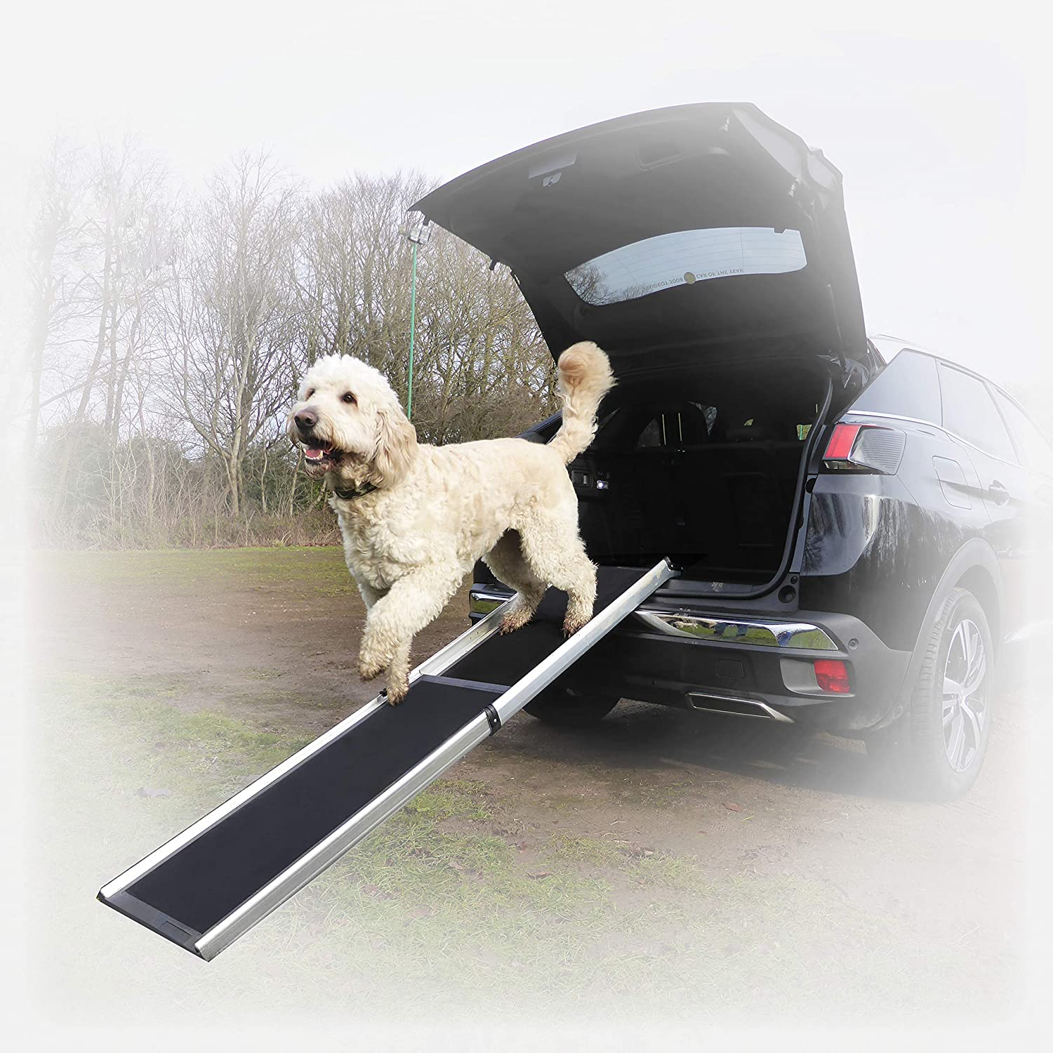 Hewitt & bluee Large Dog Car Ramp – Car 4x4 SUV MPV Ramp for Dogs – Lightweight & Easy to Use Telescopic Pet Ramp – Heavy Duty – Safe with SureGrip Technology