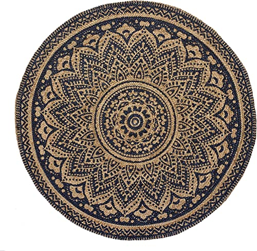 HF by LT Isabella Printed Round Jute Rug, 3 , Durable, Sustainable, Hand Woven and Machine Stitched, Indigo