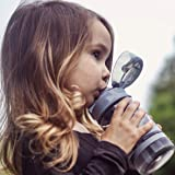 Nuby Thirsty Kids Flip-it Thin Straw Active On the Go Water Bottle with Push Cap and Carry Handle, Gray Bear, 12 Ounce
