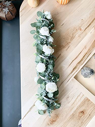 Table Centerpiece Dining Table Long Floral Arrangement Greenery Garland White Peonies Aluminum Spiral 36 Inch Handmade