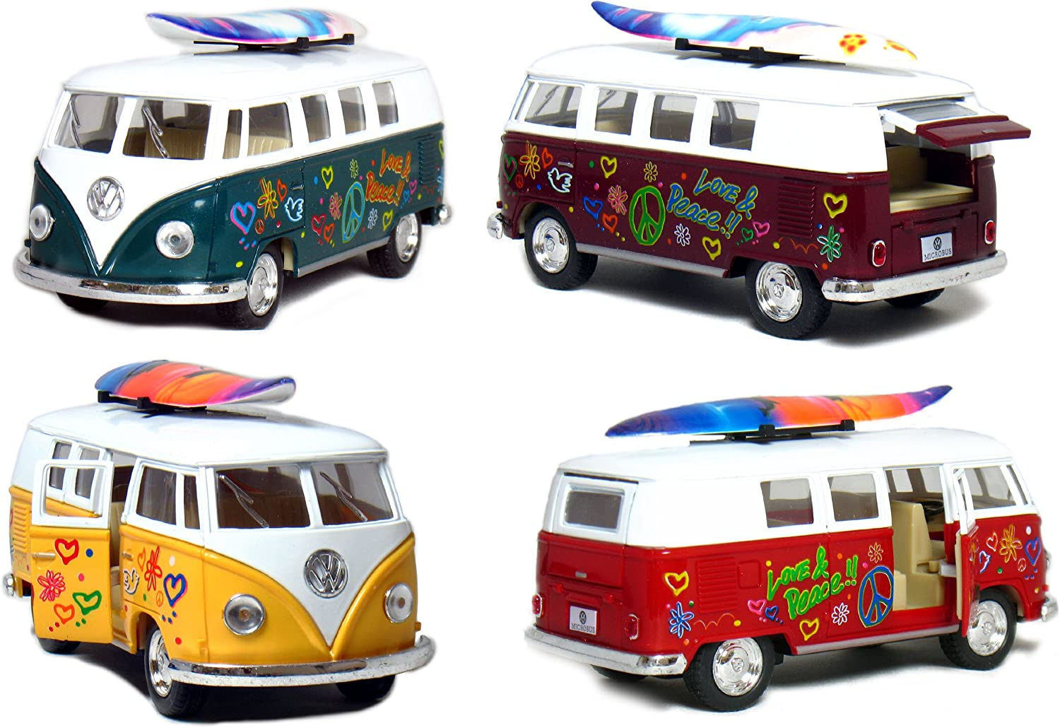 "Set of 4 Vehicles: 5"" 1962 VW Classic Van Flowers with Surfboard (Red, Green, Maroon and Yellow)"