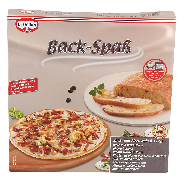 Pizzastein aus Keramik mit Griffen aus Metall Dr Farbe: Creme Oetker Backstein /Ø 33 cm mit Wiegemesser Pizzaschneider aus Edelstahl mit Bambusgriff Menge: 1 St/ück