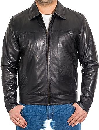 A to Z Leather Negro para Hombre de Cuero Real del Motorista de Harrington Chaqueta con Cuello de la Camisa: Amazon.es: Ropa y accesorios