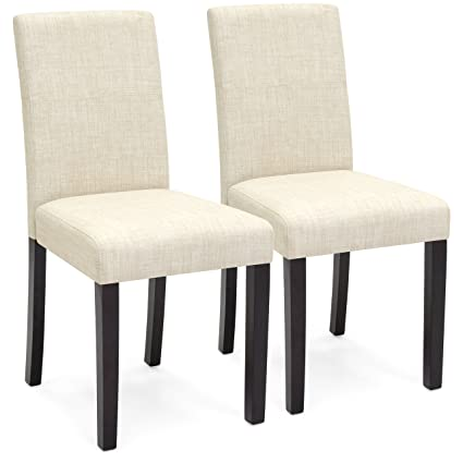 Best Choice Products Set Of 2 Fabric Parsons Dining Chairs (Beige)