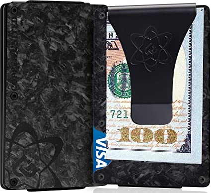 Carbon Fiber Slim Wallet with Money Clip RFID Blocking Front Pocket Wallet for Men And Women with Gift Box included