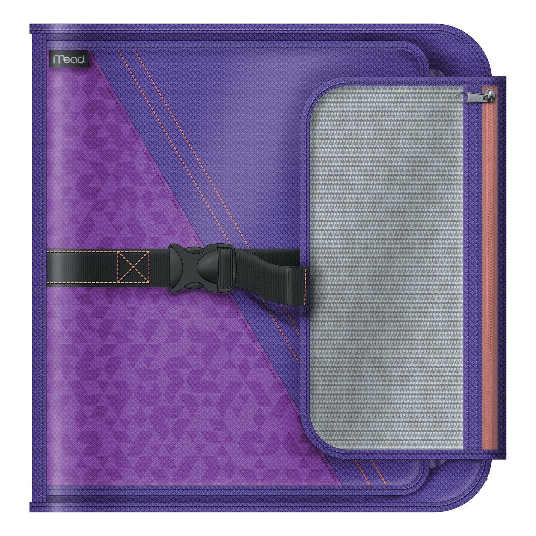 Mead 2 Inch Round Ring Binder, Sewn Fabric, 3 Tab Expanding File, 4 Pockets, Purple (29282BI7)