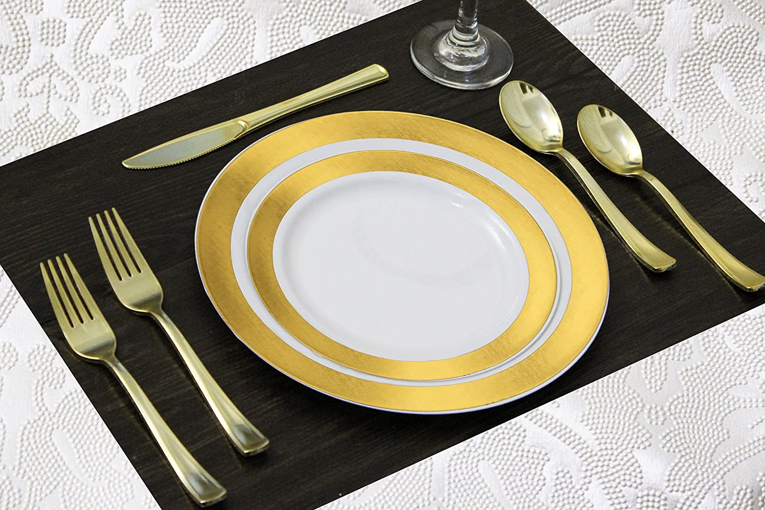 240 Disposable Plastic Plates for Parties Set | 40 10 Dinner Plates, 40 7.5 Salad/Dessert Plate, 80 Forks, 40 Knives, 40 Spoons | Excellent for Weddings, Bridal Showers, Birthday & More | Gold Rim | 91uISuQriML