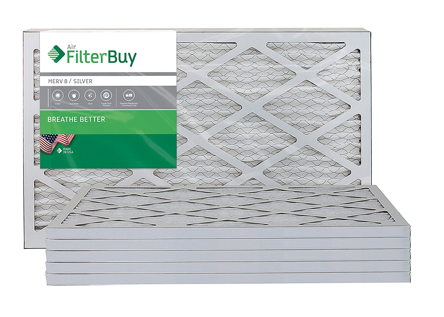 FilterBuy 14x20x1 MERV 8 Pleated AC Furnace Air Filter, (Pack of 6 Filters), 14x20x1 – Silver