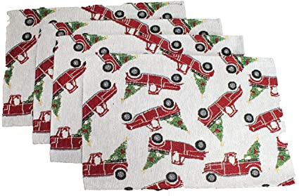 Vintage Red Truck Christmas Placemats.Amazon Com Twisted Anchor Trading Co 4 Pc Set Christmas