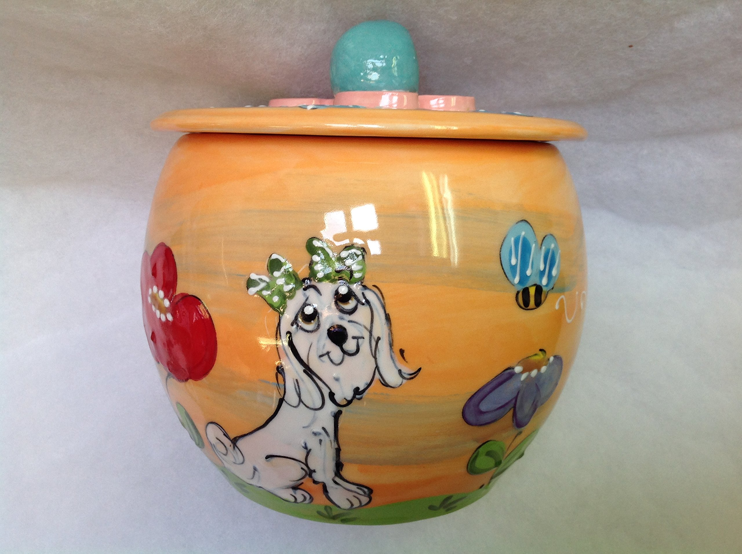 Havanese Treat Jar/Cookie Jar. Personalized at no Charge. Signed by Artist, Debby Carman.