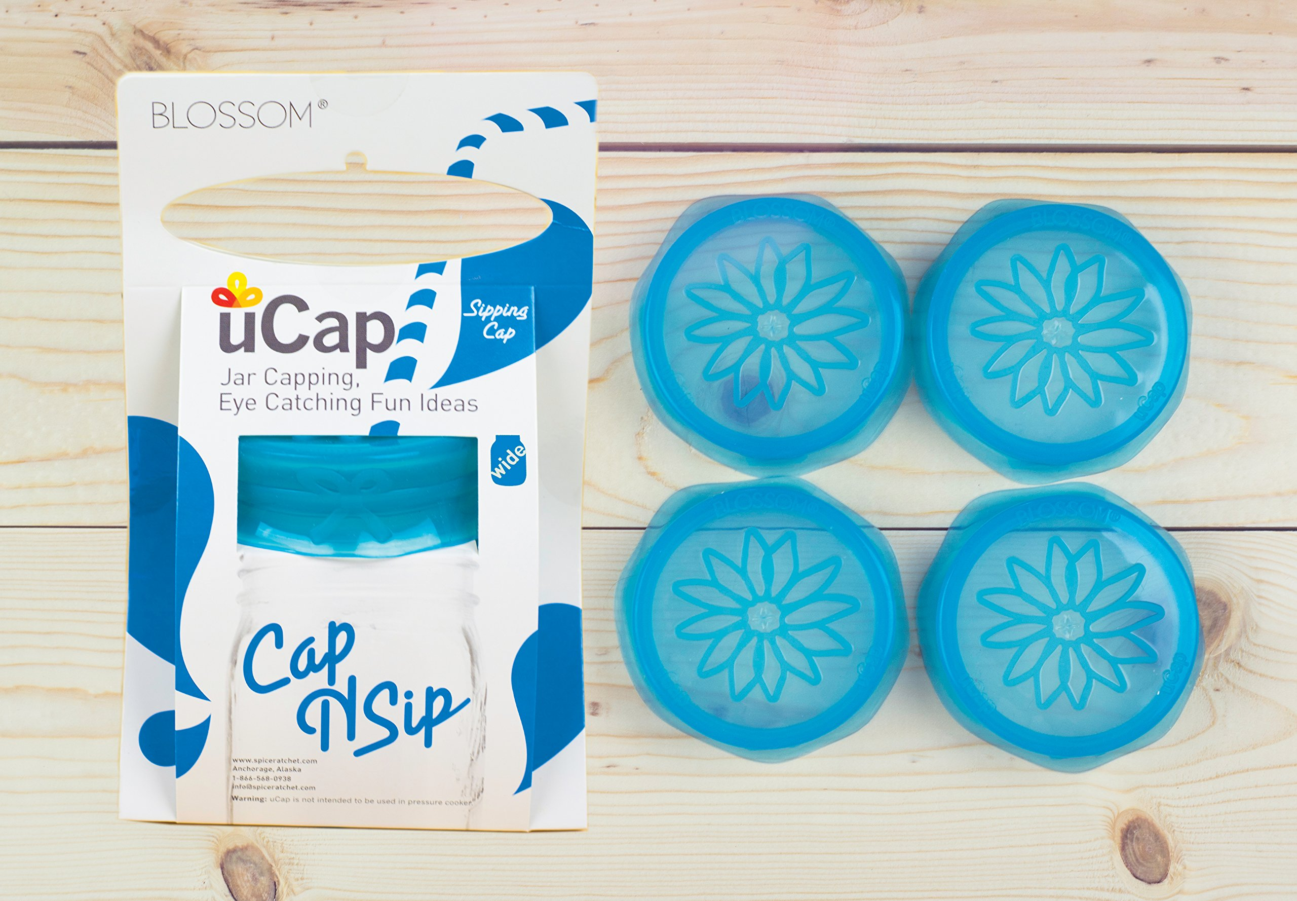 Blossom Mason and Canning Jar Sipping and Drinking Lid Caps, Silicone, For Wide Mouth Size Mason Jars, 4-Inches; Blue; Set of 4 by Spice Ratchet (Image #2)