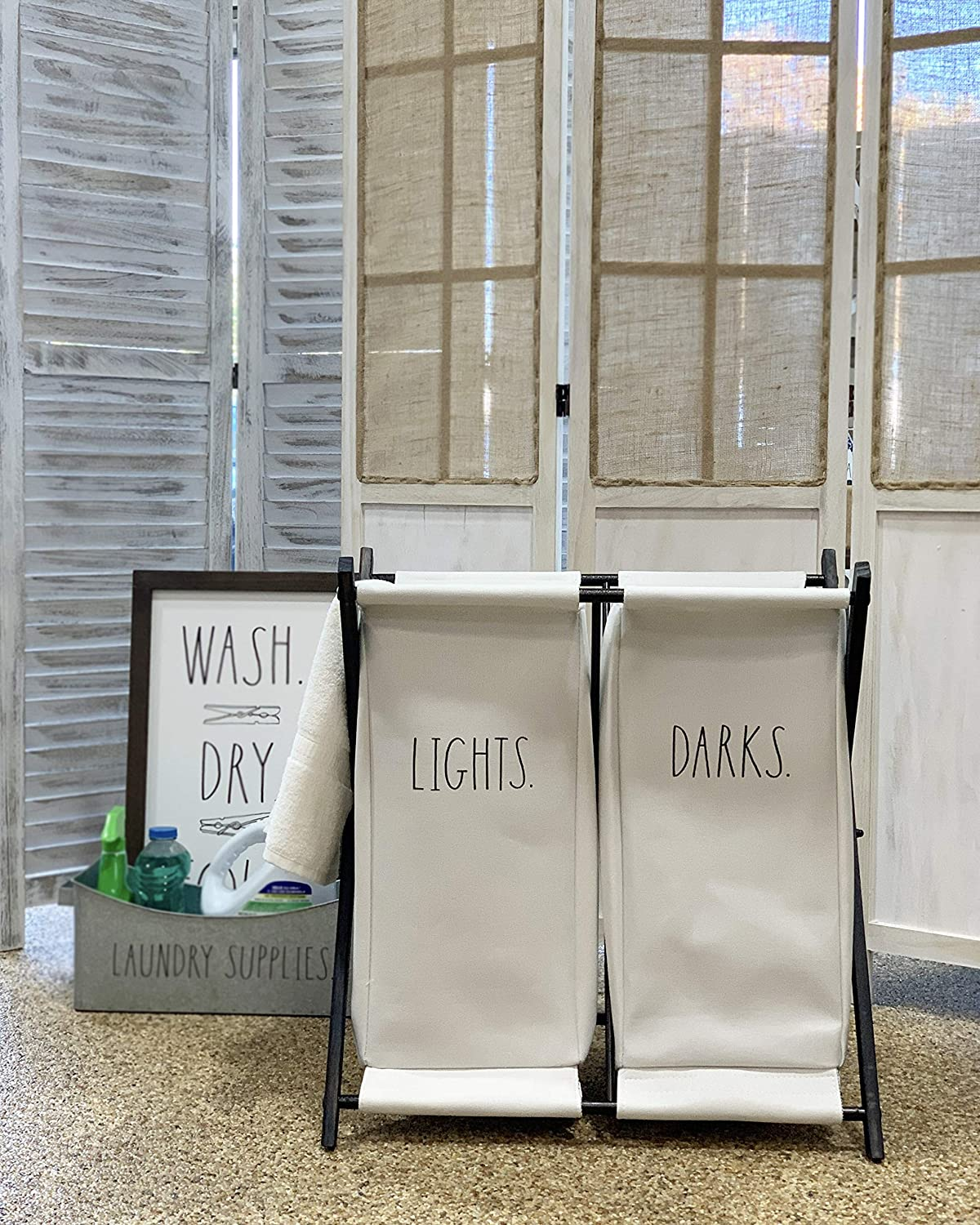 Bathroom Two Section Clothes Bin for Easy Divide of Lights and Darks Rae Dunn Folding Laundry Hamper Foldable Basket for Bedroom Nursery Metal and Black Fabric Home D/écor Dorm