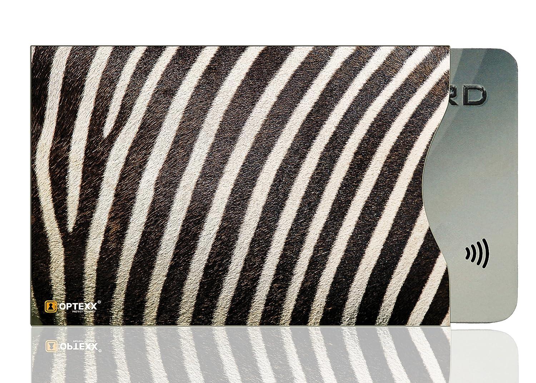 OPTEXX® 1x RFID Schutzhülle Zebra Fell | TÜV geprüft & zertifiziert für Kreditkarte | EC-Karte | Personal-Ausweis Hülle sicheres Blocking von Funk Chips