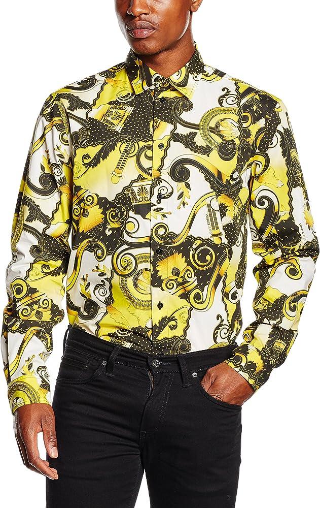 Versace Jeans EB1GNB6R0_E17892, Camisa para hombre, Multicolor (Amarillo Fluo), 40 (Talla del fabricante: 44): Amazon.es: Ropa y accesorios
