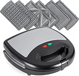 Best Choice Products 3-in-1 750W Dishwasher Safe Non-Stick Stainless Steel Electric Sandwich Waffle Panini Maker Press w/ 3 Interchangeable Grill Plates, Auto Shut Down, LED Indicator Light, Black