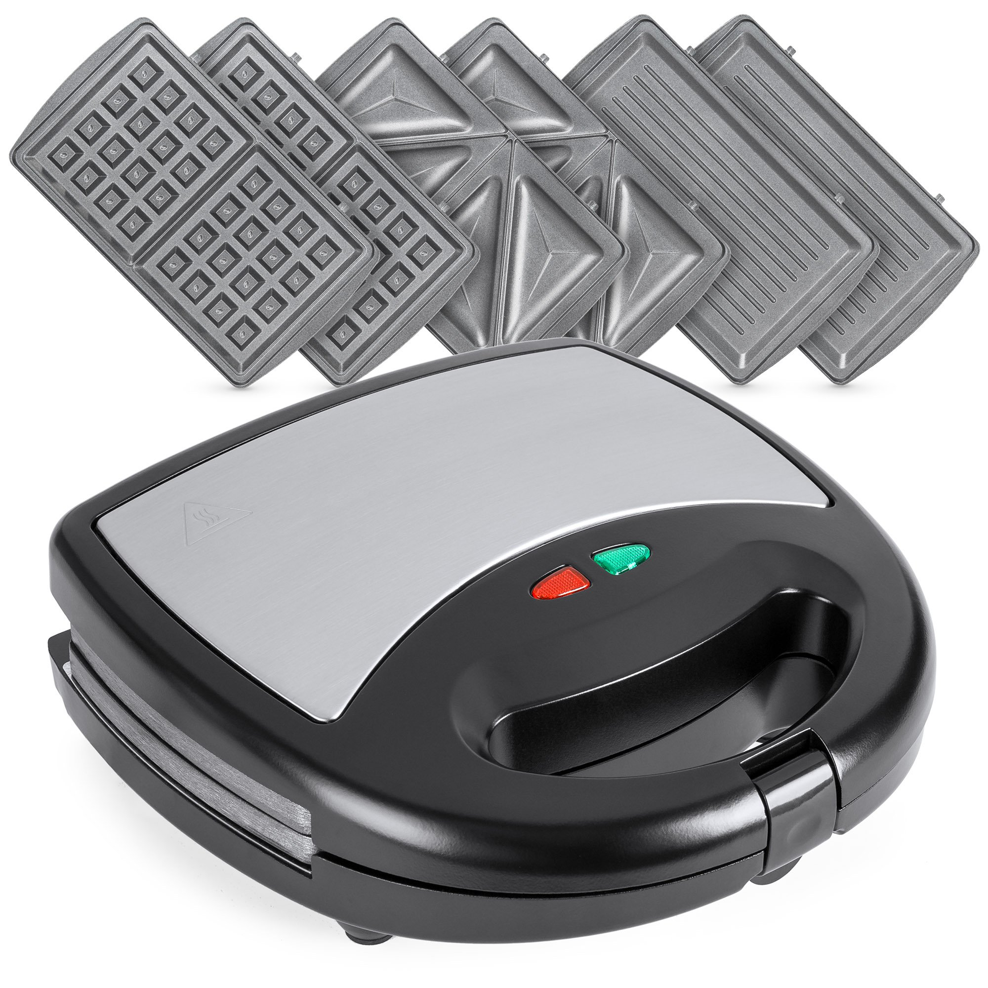 Best Choice Products 3-in-1 750W Dishwasher Safe Non-Stick Stainless Steel Electric Sandwich Waffle Panini Maker Press w/ 3 Interchangeable Grill Plates, Auto Shut Down, LED Indicator Light, Black by Best Choice Products