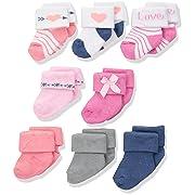 Hudson Baby Basic Socks, 8 Pack, Love, 0-6 Months