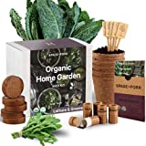 Indoor Lettuce & Greens Garden Starter Kit - Certified USDA Organic Non GMO - 5 Seed Types Arugula, Spinach, Loose Leaf Lettu