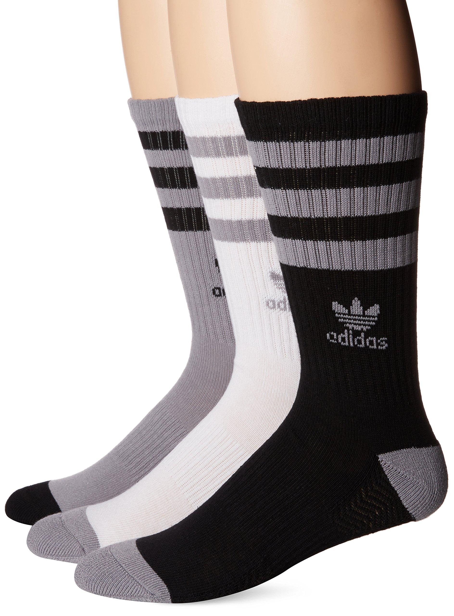 adidas Men's Originals Crew Socks (3-Pack), Light Onix/Black/White, Large