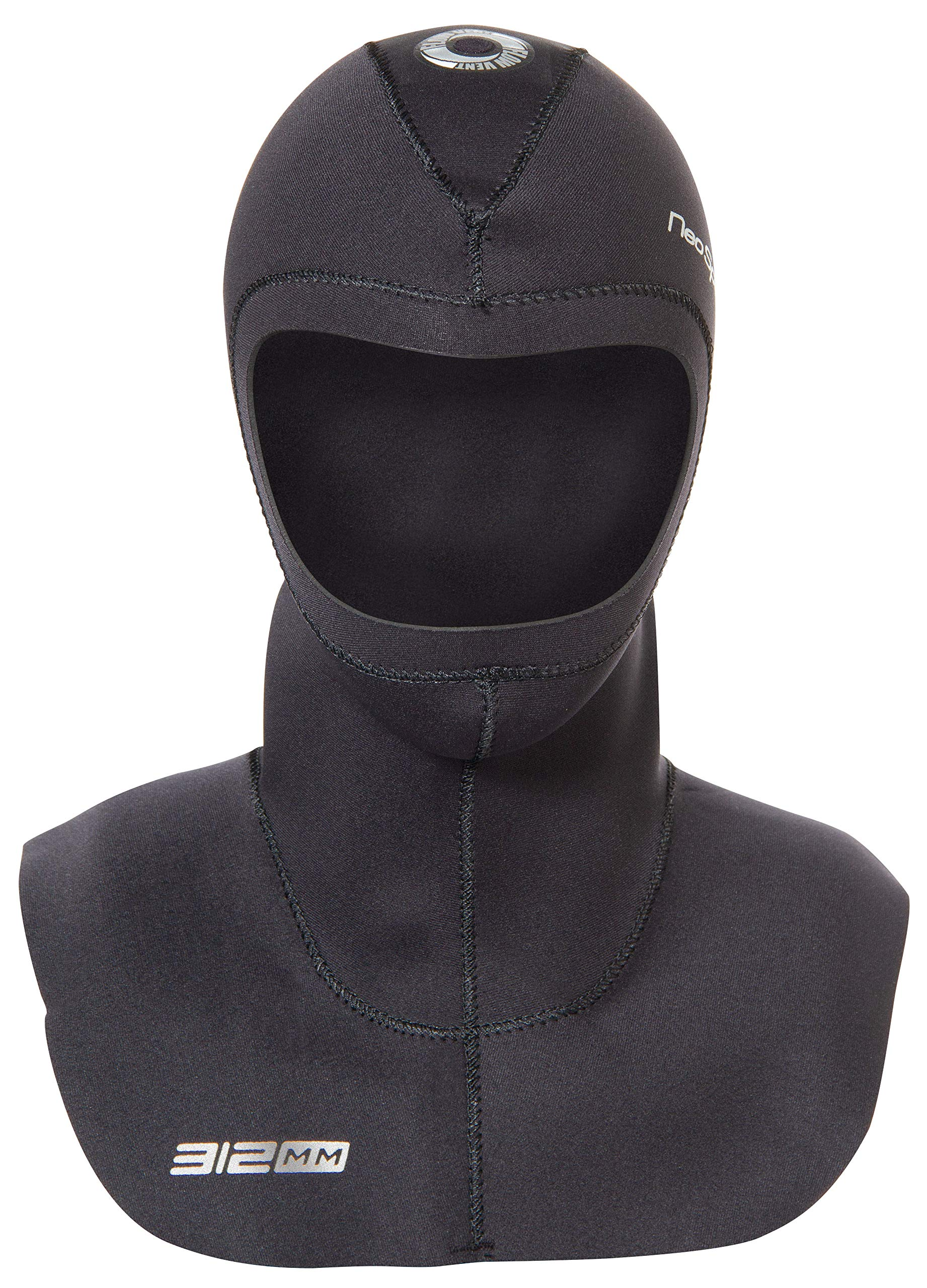 Neo Sport Multi-Density Wetsuit Hood available in three thicknesses 3/2MM - 5/3MM - 7/5MM with Flow Vent to eliminate trapped air. Anatomical fit. Skin Neoprene face seal which can be trimmed by owner for a custom fit