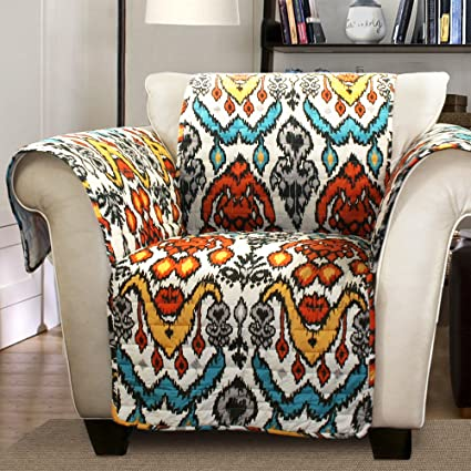 Lush Decor Jaipur Ikat Slipcover/Furniture Protector For Armchair,  Turquoise/Rust