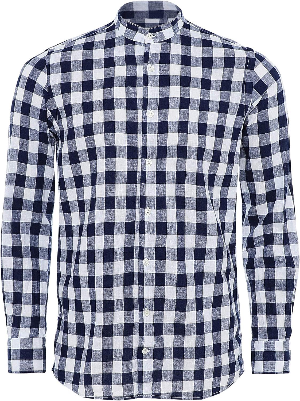 Altemflower Hombres Camisa de algodón y Lino del Abuelo de ...