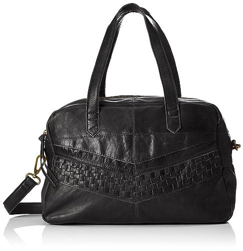 PIECES - Pcjimini Leather Bag, Carteras de mano con asa Mujer, Schwarz (Black