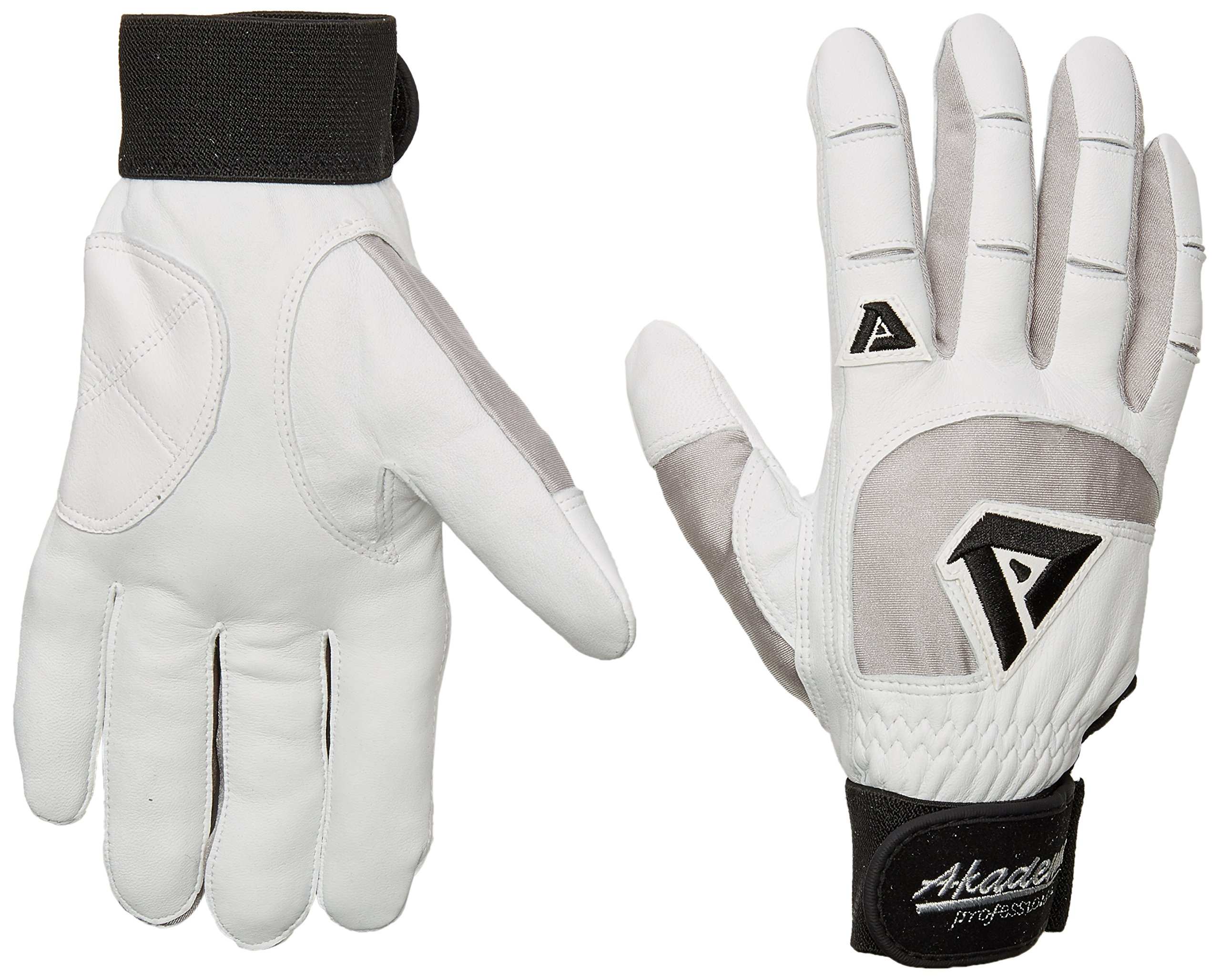 Akadema Professional Batting Gloves (White/Grey, X-Small)