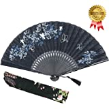 """OMyTea 8.27""""(21cm) Women Hand Held Silk Folding Fans with Bamboo Frame - With a Fabric Sleeve for Protection for Gifts - Chinese / Japanese Style Butterflies and Morning Glory Flowers Pattern (Black)"""
