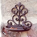 Outdoor Garden Cast Iron Hanging Wall Mounted Wild Bird Feeder Bath 18cm