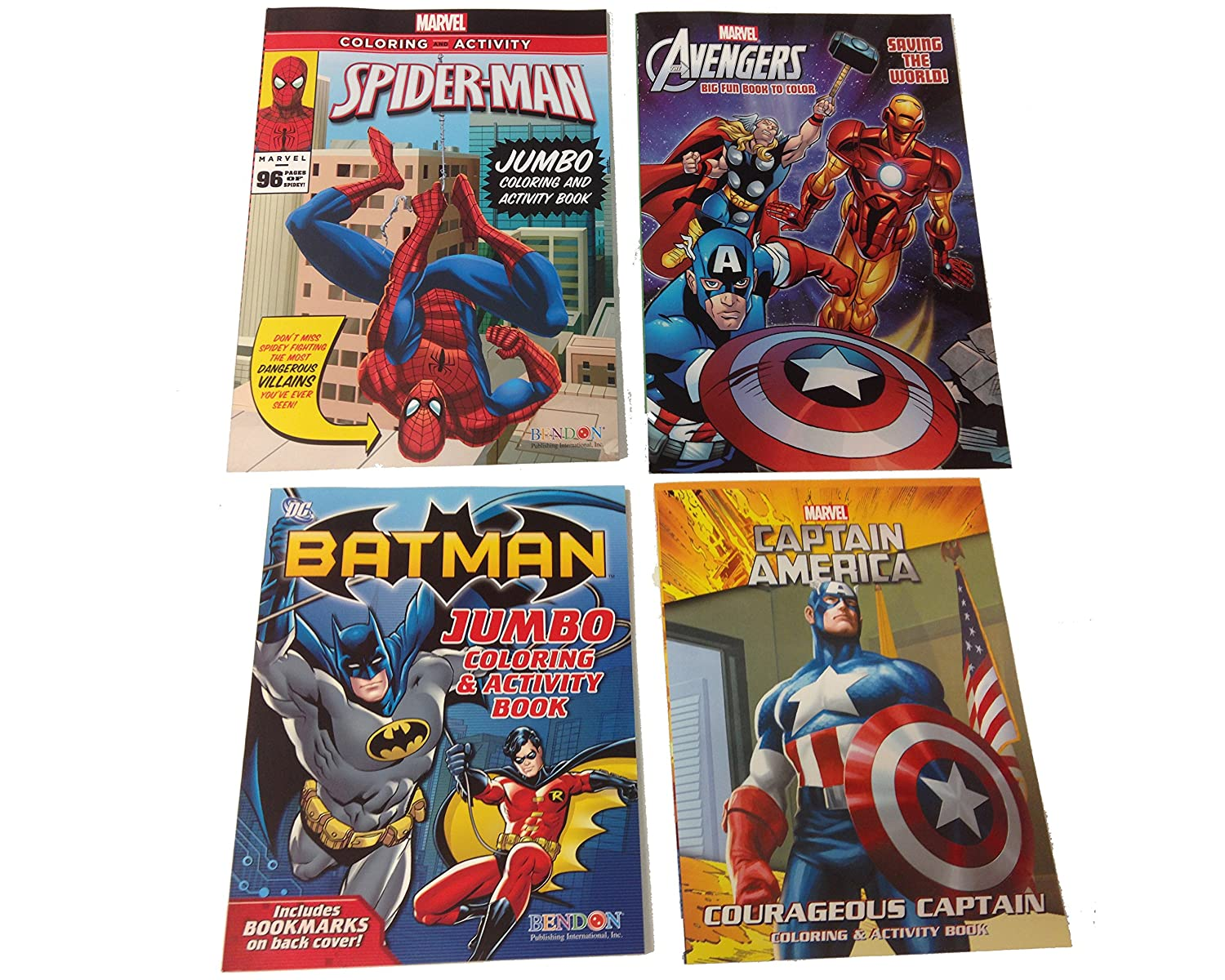 Marvel Colouring and Activity Books - Ultimate Gift Set for Kids - 3 Marvel Books Plus 1 Free Dc Comics Book - Avengers - Captain America - Spiderman - Plus Dc Comic Batman and a Box of Crayons   B00N2918J8