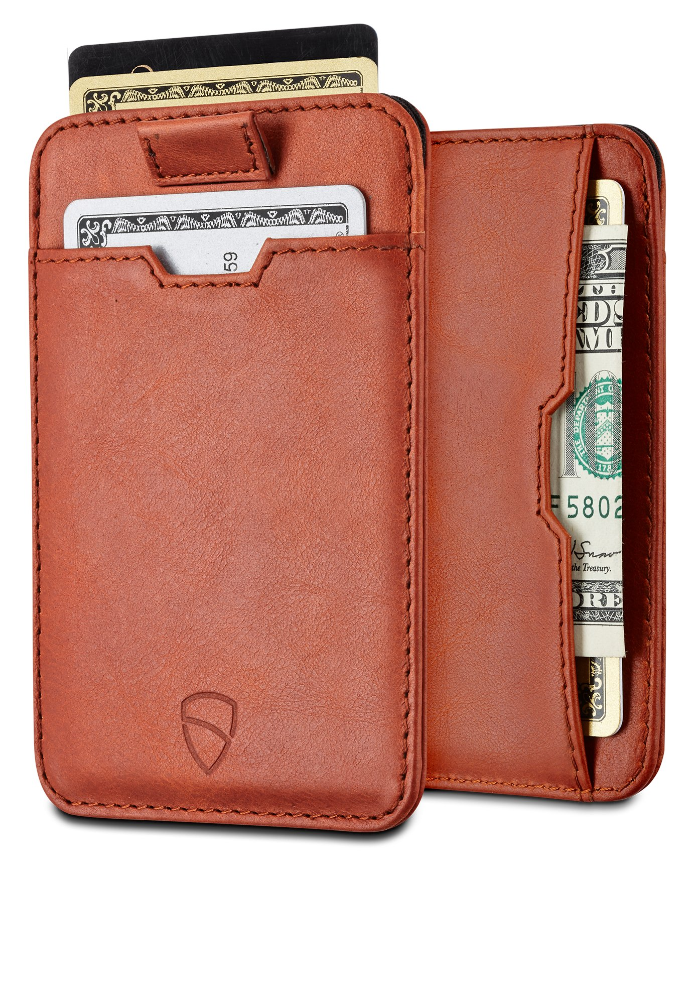 Chelsea Slim Card Sleeve Wallet with RFID Protection by Vaultskin – Top Quality Italian Leather - Ultra Thin Card Holder Design For Up To 10 Cards (Cognac)
