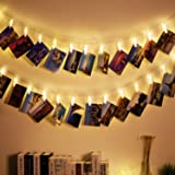 Weico LED Photo Clips String Lights, 13 Feet 40 Picture Clips Starry Fairy Twinkle Lights, Wedding Party Home Decor for Hanging Photos, Post Cards and Artwork (Battery Powered, Warm White)