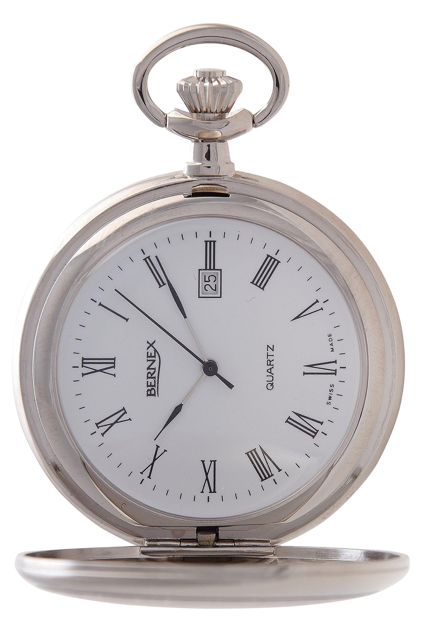 Bernex Swiss Made Rhodium Plated Pocket Watch Roman Numerals by Bernex
