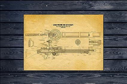 Amazon com: Lewis Machine Gun Wall Art Old look Yellow