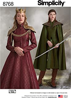product image for Simplicity 8768 Women's Fantasy Cosplay Cloak Dress Sewing Pattern, Sizes 14-22