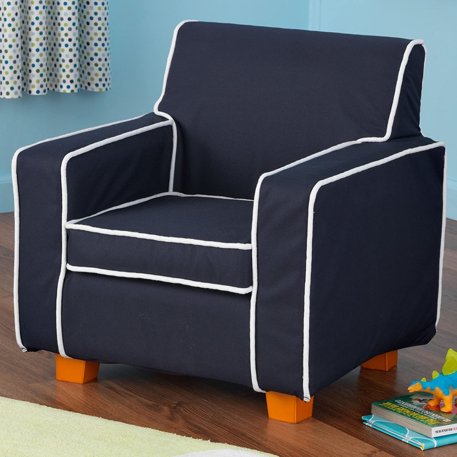 Amazon.com: KidKraft Laguna Chair With Navy Piping And Slip Cover: Toys U0026  Games