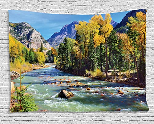 Ambesonne Landscape Tapestry, Mountains of Colorado with Forest and River Summer Foliage Idyllic Photo, Wide Wall Hanging for Bedroom Living Room Dorm, 60 X 40 , Sage Green