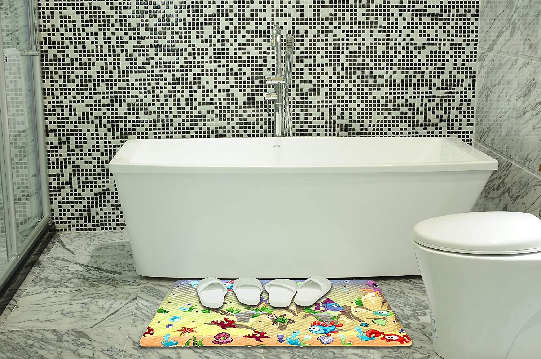 White-Three Bath Mat Non Slip Shower Mat for Kids Funny Cartoon Pint Bath Mat for Tub Bathroom Mat with Drain Hole,Suctipn Cup No BPA