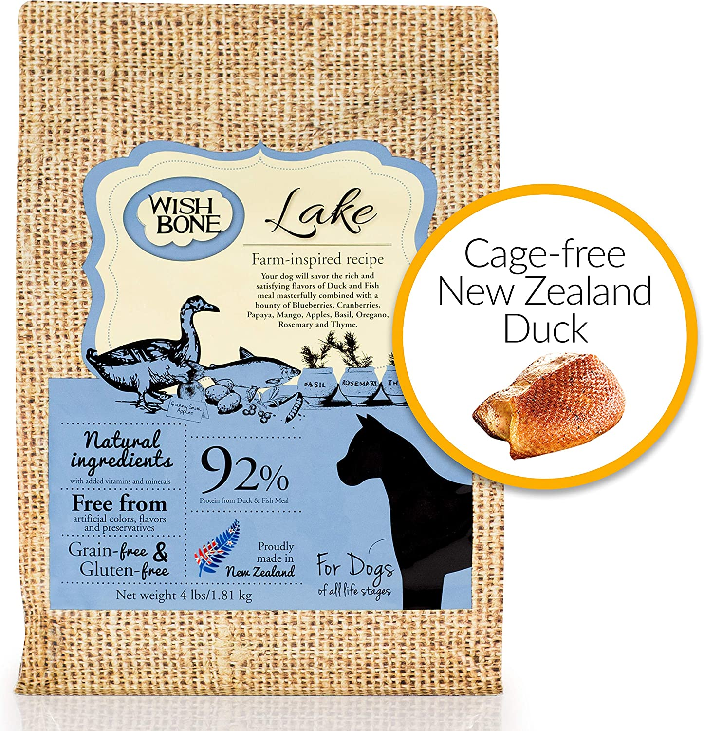 Wishbone Lake Grain-Free and Gluten-Free Dog Food, Made from New Zealand Duck Dry Dof Food, All Natural Dog Food, High Protein Dry Dog food, For all Dog life stages