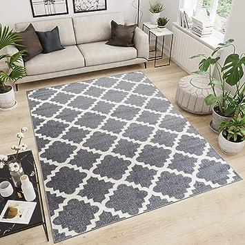 Tapiso Designer Teppich Wohnzimmer Teppich KURZFLOR GRAU MODERN  MAROKKANISCHE Muster 60 x 100 cm