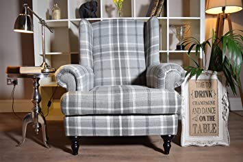 Made In The UK Aspen Vintage Style Wingback Chair   Check/Natural / Grey