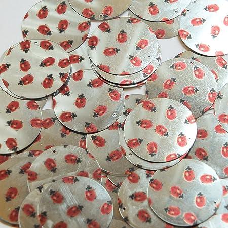Long Diamond Sequin 1.75 Ladybug Ladybird Print on Silver Metallic Couture Paillettes