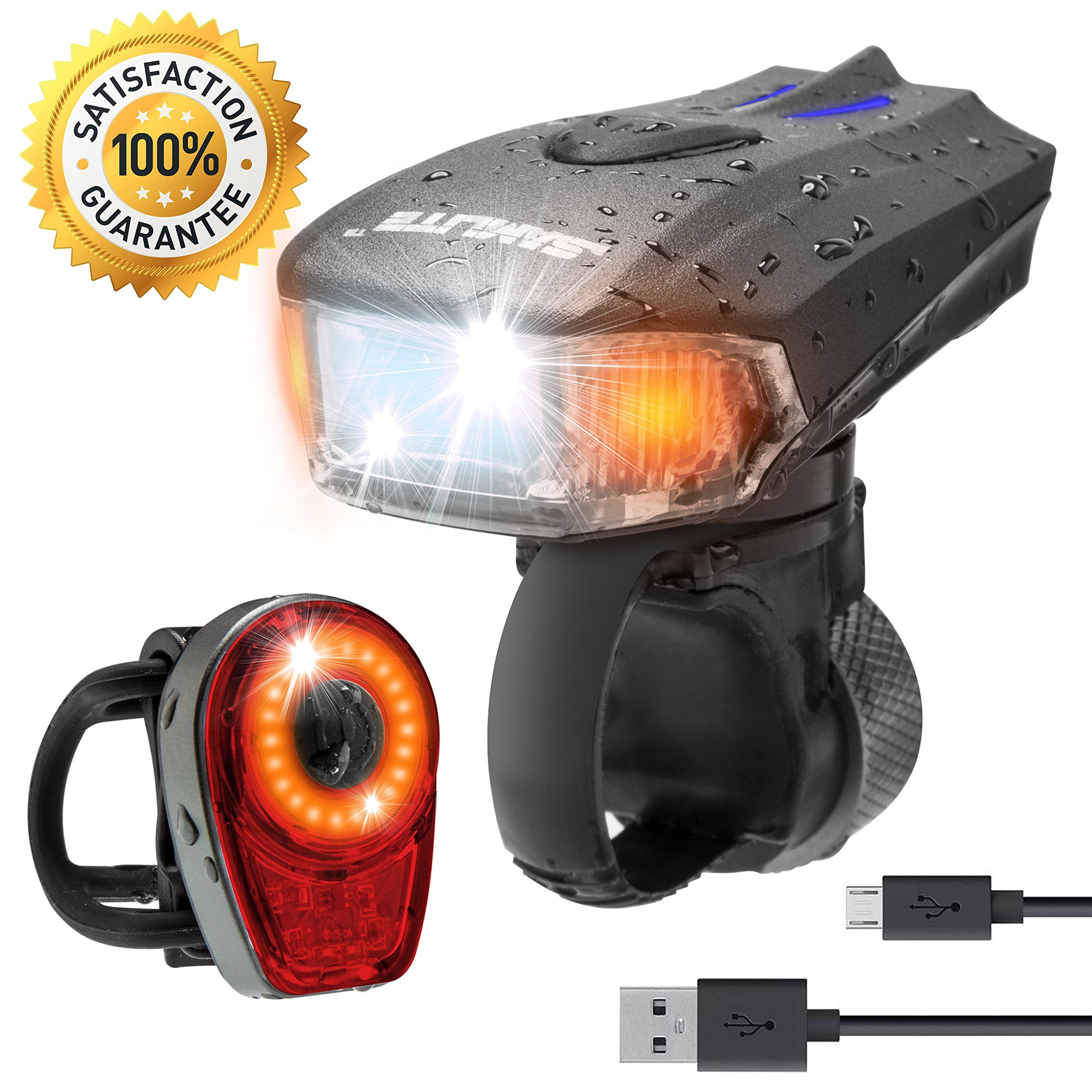 SAMLITE Best USB Rechargeable LED Bike Light Set TRIP-LIT SUPER BRIGHT 400 Lumens Headlight - LED Front Light with FREE LED Tail Light Set, Two USB Charging Cables Included for Safety Cycling