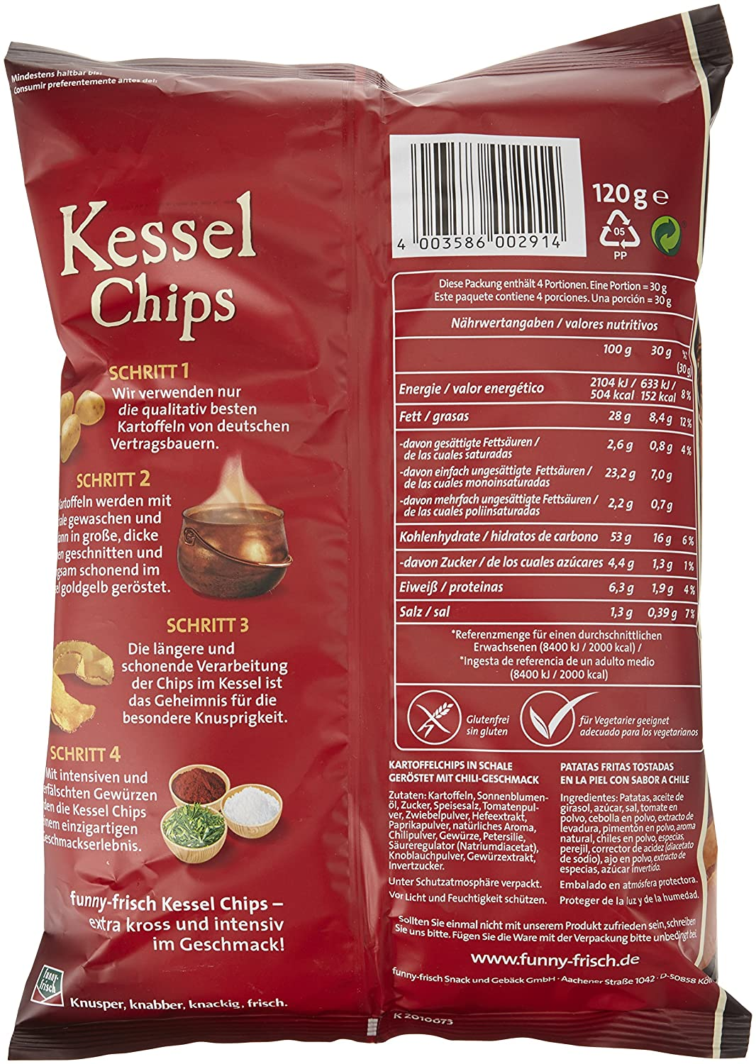 funny-frisch Kessel Chips Sweet Chili & Red Pepper, 120 g: Amazon.de ...