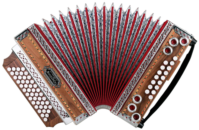 Alpenklang 4/III Harmonika Deluxe G-C-F-B Nuss (Steirische Harmonika/Knopfakkordeon, Blumendesign, Holz, mit Koffer und Riemen) 4/III-Dlx-G Nuss