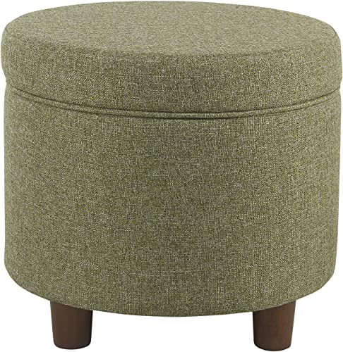 HomePop Round Tweed Storage Ottoman