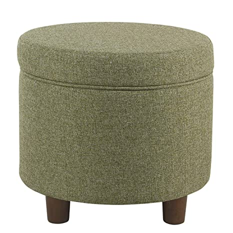 Outstanding Homepop Round Tweed Storage Ottoman Green Tweed Alphanode Cool Chair Designs And Ideas Alphanodeonline