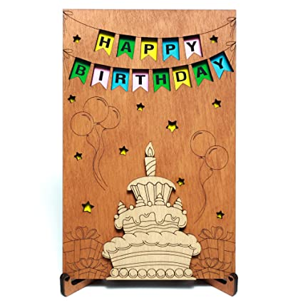 amazon com happy birthday real wood greeting card with stand best